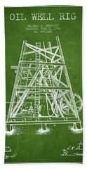 Oil Well Rig Patent From 1893 - Green Beach Towel by Aged Pixel