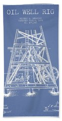 Oil Well Rig Patent From 1893 - Light Blue Beach Towel by Aged Pixel