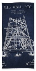 Oil Well Rig Patent From 1893 - Navy Blue Beach Towel by Aged Pixel