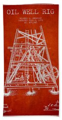 Oil Well Rig Patent From 1893 - Red Beach Towel by Aged Pixel