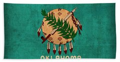 Oklahoma State Flag Art On Worn Canvas Beach Towel