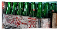 Old 7 Up Bottles Beach Sheet by Thomas Woolworth