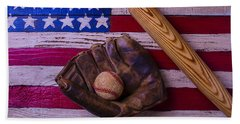 Old Ball And Glove With Bat Beach Towel
