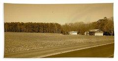 Old Barn And Farm Field In Sepia Beach Sheet by Amazing Photographs AKA Christian Wilson