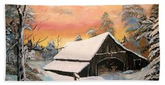 Beach Sheet featuring the painting Old Barn Guardian by Sharon Duguay