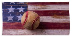 Old Baseball On American Flag Beach Towel