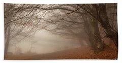 Old Beech Trees In Fog Beach Towel