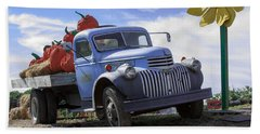 Beach Towel featuring the photograph Old Blue Farm Truck  by Patrice Zinck