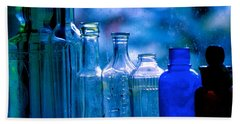 Old Blue Glass Bottles In The Window... Beach Towel