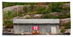 Old Boathouse With Two Muskoka Chairs Beach Towel