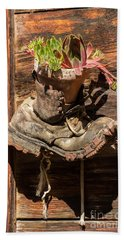 Old Boot Potted Plant - Swiss Alps Beach Towel