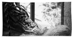 Beach Towel featuring the photograph Old Boots by Clare Bevan