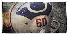 Old Boston Patriots Football Helmet Beach Towel