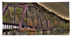 Beach Towel featuring the photograph Old Bridge Over Lake by Jonny D