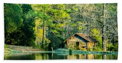 Old Cabin By The Pond Beach Towel