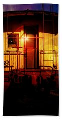Aaron Berg Beach Towel featuring the photograph Old Caboose  by Aaron Berg
