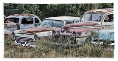 Old Car Graveyard Beach Towel