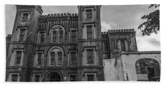 Old City Jail In Black And White Beach Towel
