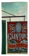 Old Clinton's Soda Fountain Sign Beach Towel