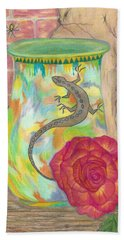 Old Crock And Rose Beach Towel