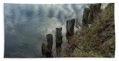Beach Towel featuring the photograph Old Dock Supports Along The Canal Bank - No 1 by Belinda Greb