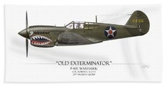 Old Exterminator P-40 Warhawk - White Background Beach Towel