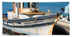 Beach Towel featuring the photograph Old Fishing Boat In Sausalito by Connie Fox