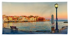 Old Harbour In Chania Crete Greece Beach Towel