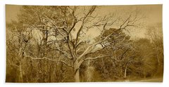 Old Haunted Tree In Sepia Beach Towel by Amazing Photographs AKA Christian Wilson