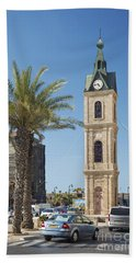 Old Jaffa Clocktower In Tel Aviv Israel Beach Towel