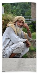 Old Man Carrying Fodder Swat Valley Kpk Pakistan Beach Towel