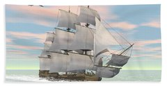 Old Merchant Ship Sailing In The Ocean Beach Towel