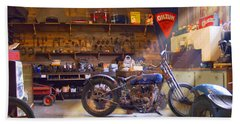 Old Motorcycle Shop 2 Beach Towel