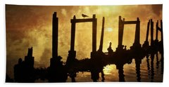 Beach Towel featuring the photograph Old Pier At Sunset by Marty Koch