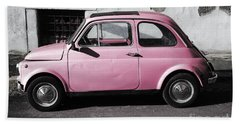 Old Pink Fiat 500 Beach Towel
