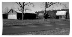 Old Red Barn In Black And White Beach Sheet by Amazing Photographs AKA Christian Wilson