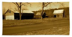 Old Red Barn In Sepia Beach Sheet by Amazing Photographs AKA Christian Wilson