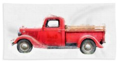Old Red Ford Pickup Beach Towel