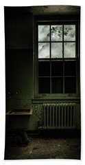 Beach Towel featuring the photograph Old Room - Abandoned Asylum - The Presence Outside by Gary Heller