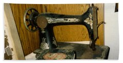 Old Sewing Machine Beach Towel by Amazing Photographs AKA Christian Wilson