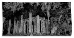 Old Sheldon Church At Night Beach Towel