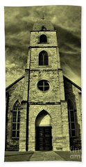 Old St. Mary's Church In Fredericksburg Texas In Sepia Beach Towel