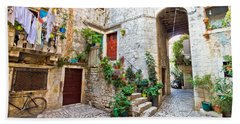 Old Stone Street Of Trogir Beach Sheet by Brch Photography