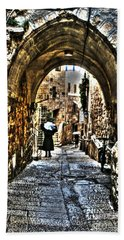 Beach Towel featuring the photograph Old Street In Jerusalem by Doc Braham