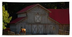 Beach Towel featuring the photograph Old-style Horse Barn by Jordan Blackstone