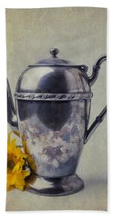 Old Teapot With Sunflower Beach Sheet by Garry Gay