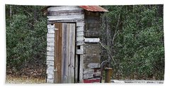 Old Time Outhouse And Pitcher Pump Beach Towel