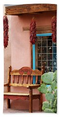 Old Town Albuquerque Shop Window Beach Sheet by Catherine Sherman