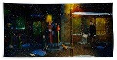 Old Town Christmas Eve Beach Towel by Ken Morris