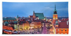 Old Town In Warsaw At Night Beach Sheet